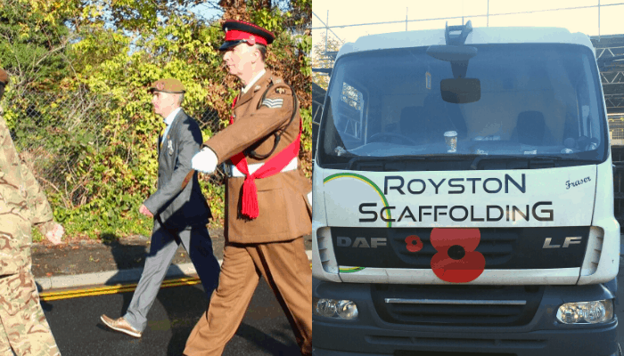 Royston Scaffolding Support Colleague And Ex-serviceman In Remembrance Sunday Commemorations